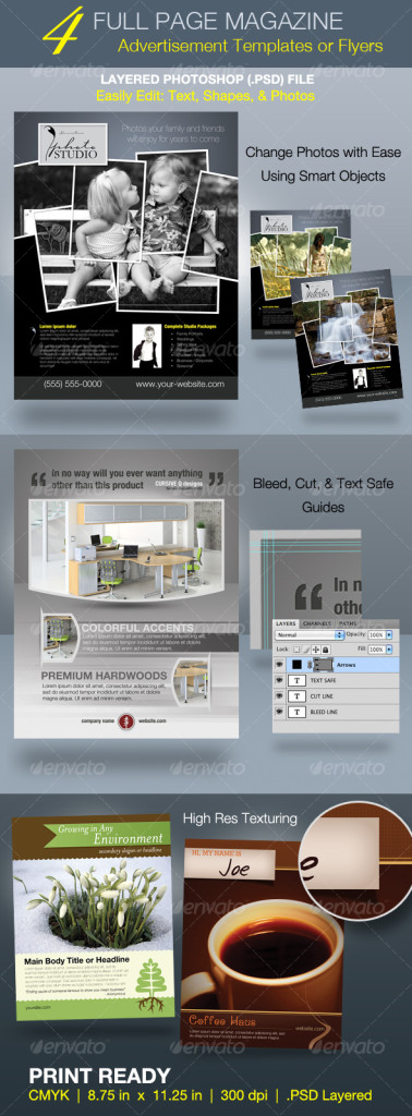 full page magazine ad and flyer templates