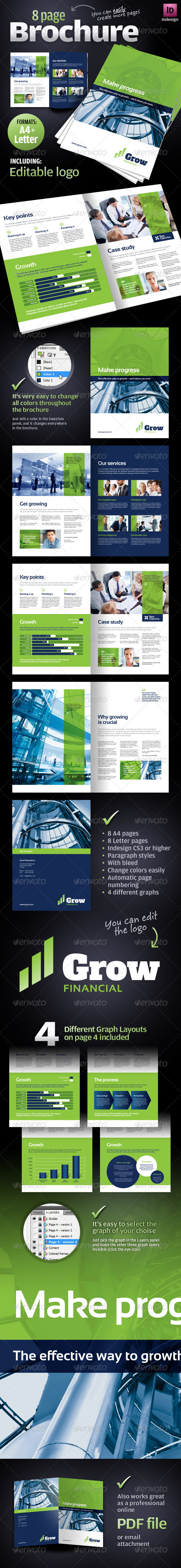 8 page corporate business brochure print ad templates
