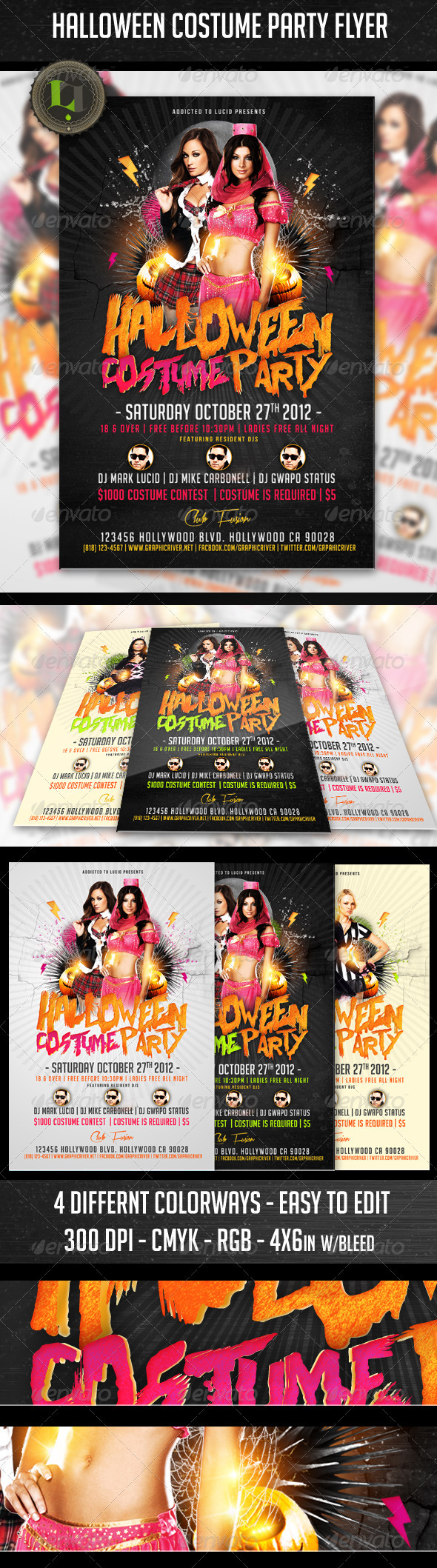 halloween costume party flyer print ad templates