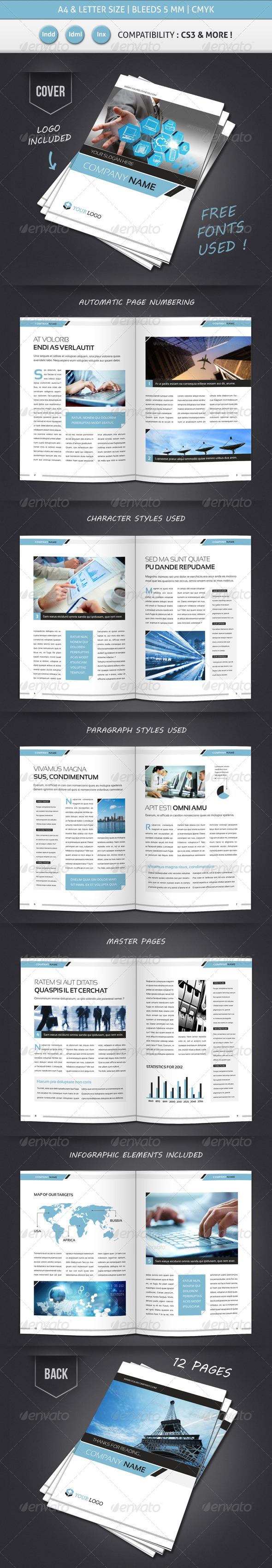 Corporate Business Brochure Template A4 Letter Print Ad Templates