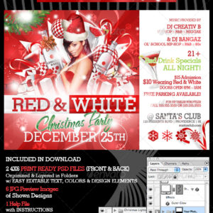 Red and White Christmas Party Flyer Templates