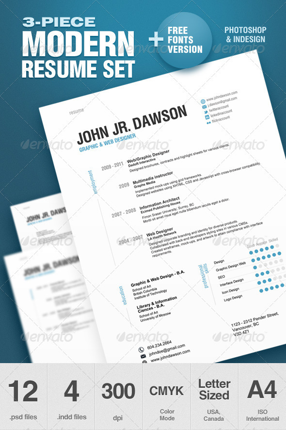 3-piece modern resume set