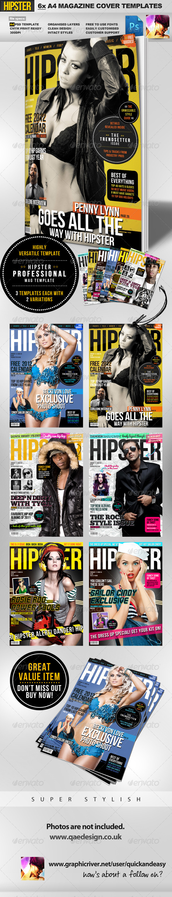 hipster a4 magazine cover templates
