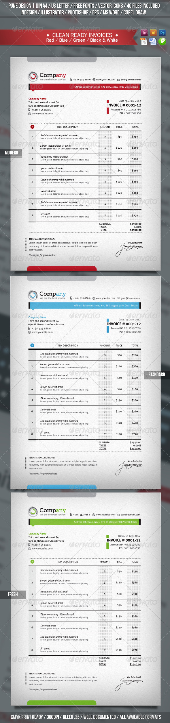 Invoices | Clean & Ready Templates