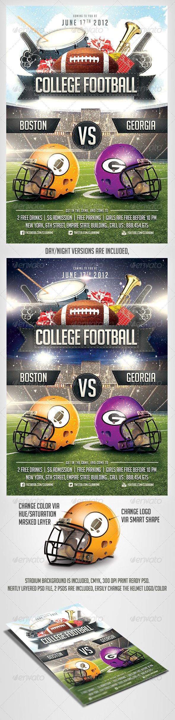College Football Flyer Template Print Ad Templates