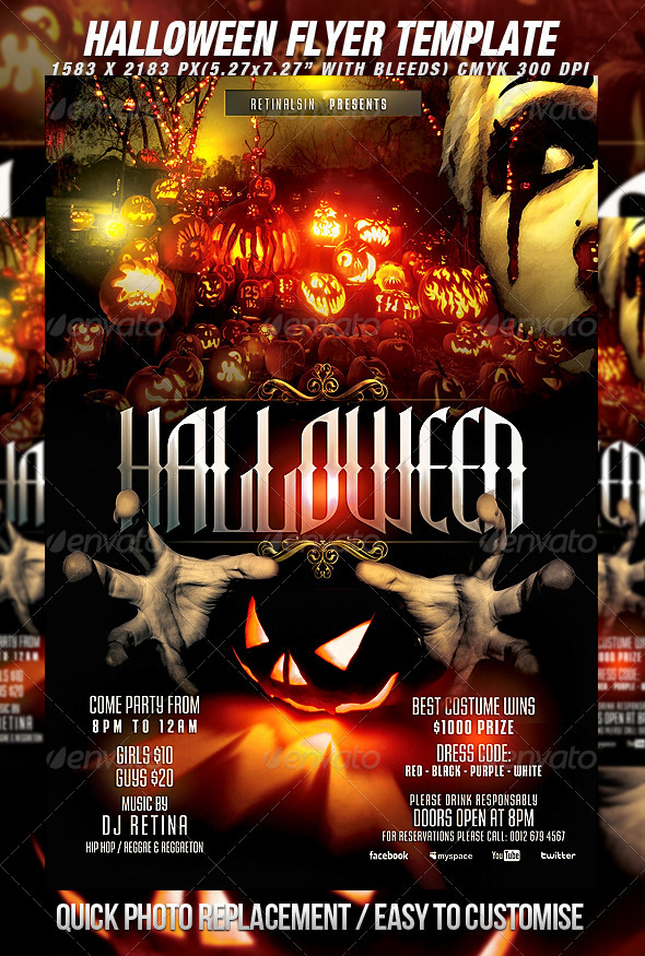 halloween flyer template print ad templates