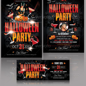 Halloween Party Flyer and Ticket Templates