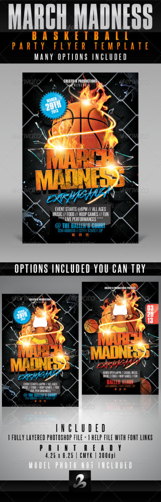march madness basketball party flyer template