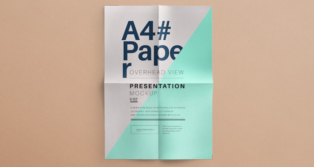 free mockup - psd a4 overhead paper mock-up vol2