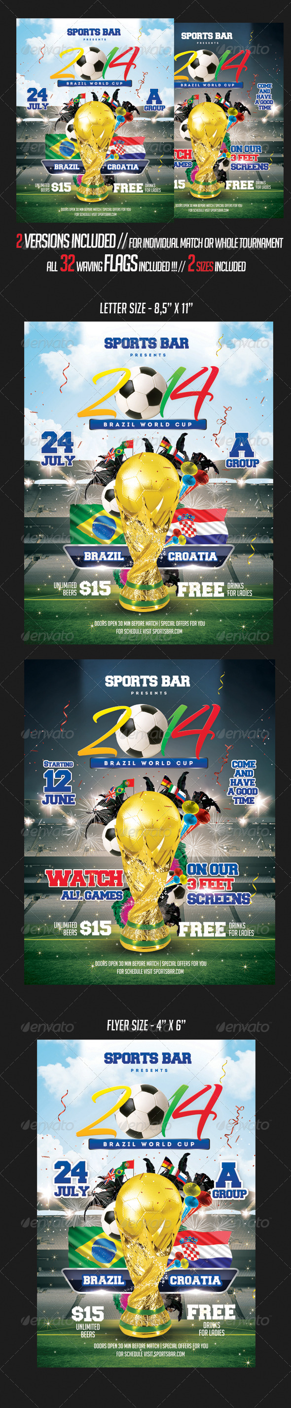 Soccer 2014 Football Brazil Flyer Template