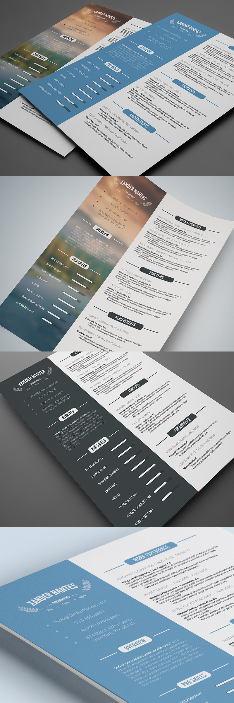 Clean Resume Template: Photoshop PSD Instant Download. Photographer, Designer, Job, Business, CV Template