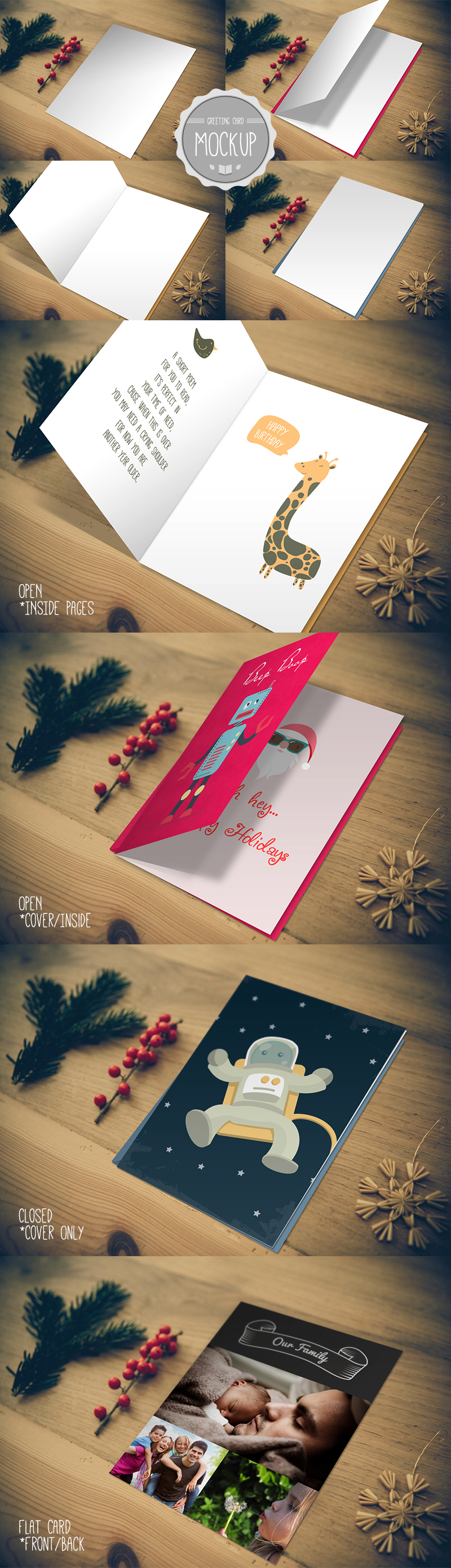 Greeting Card Mockup – Photoshop PSD Template – Display Holiday, Birthday, Wedding Cards