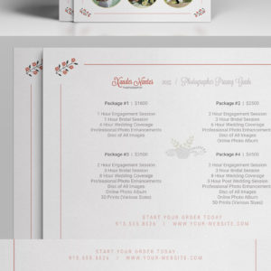 Wedding Photographer Pricing Guide / Price Sheet List 5×7- Photoshop PSD Template