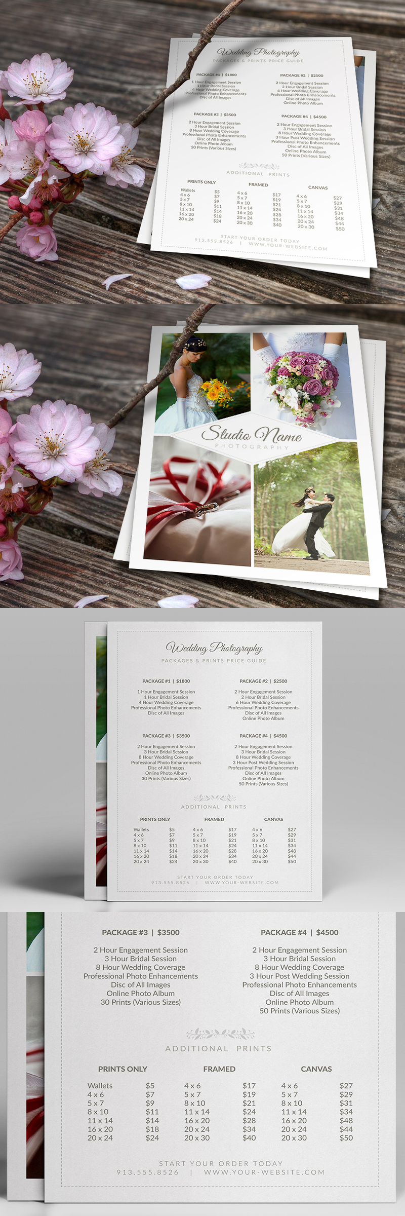 Wedding Photographer Pricing Guide / Price Sheet List 5×7 v2 – Photoshop PSD Template