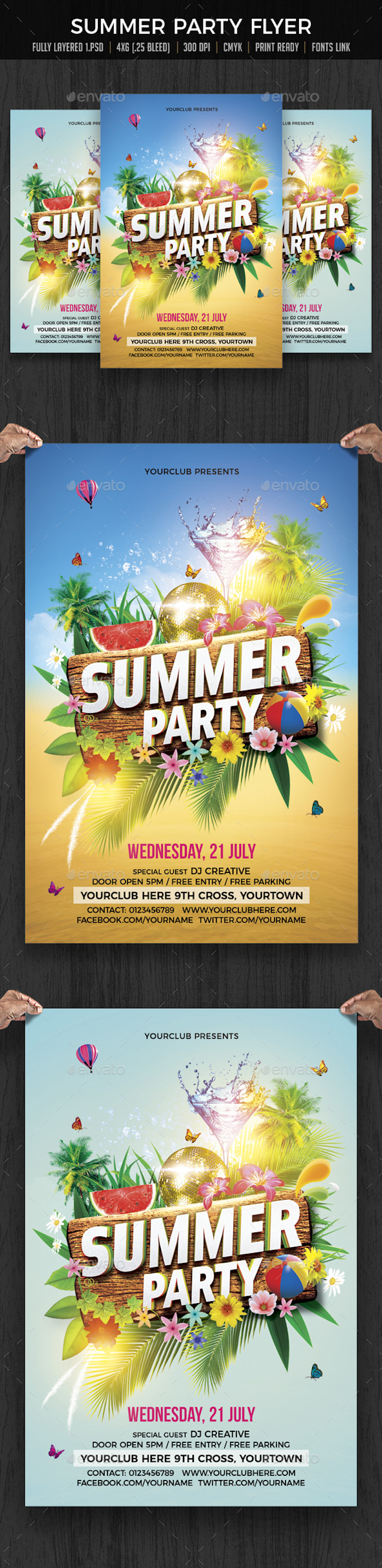 summer beach party flyer print ad templates
